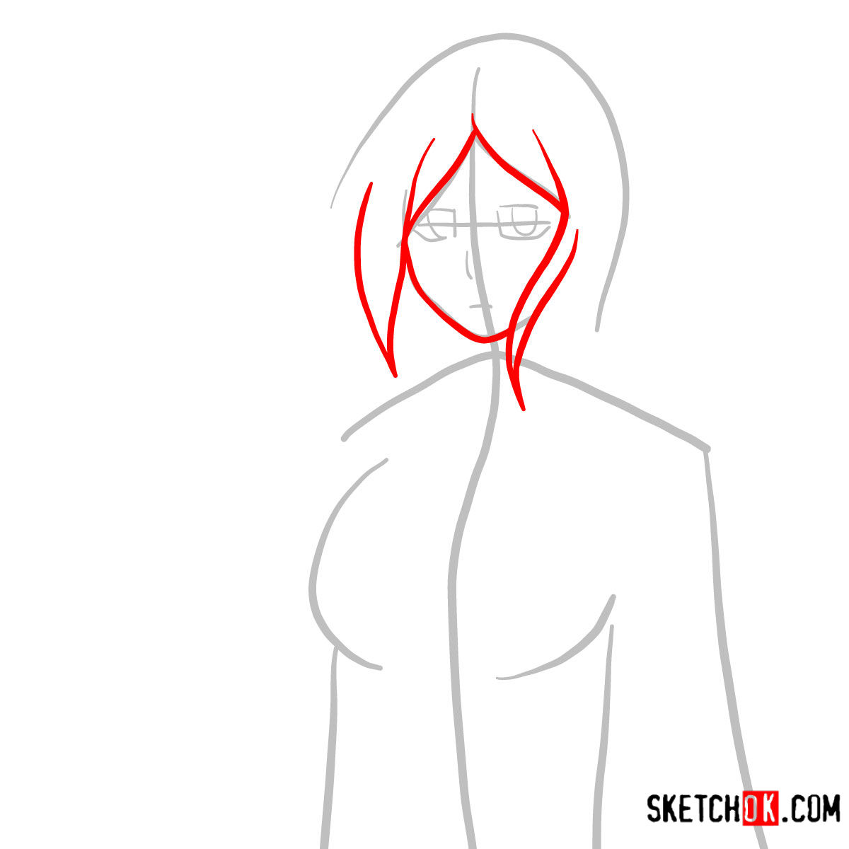 How to draw Orihime Inoue face | Bleach - step 03
