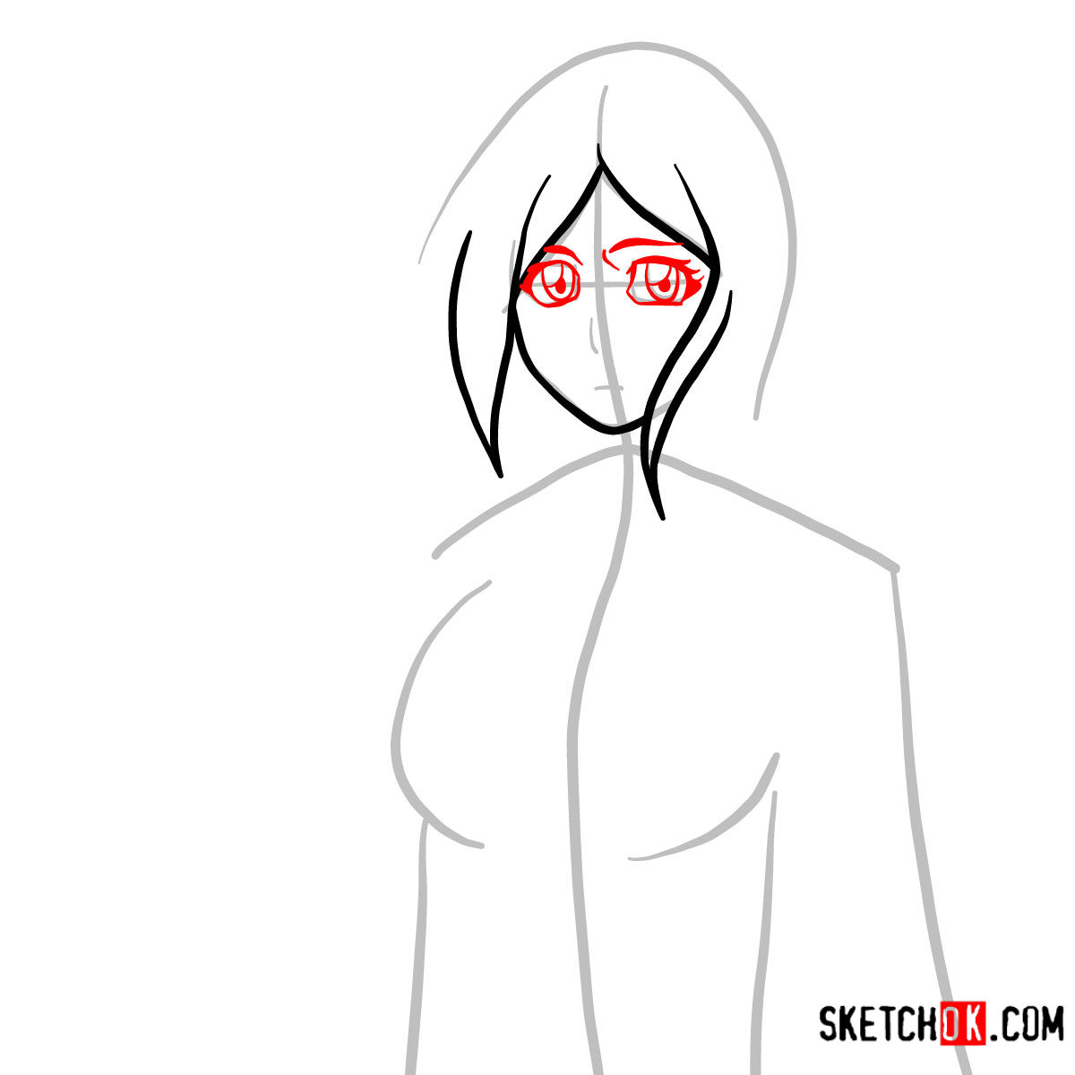 How to draw Orihime Inoue face | Bleach - step 04