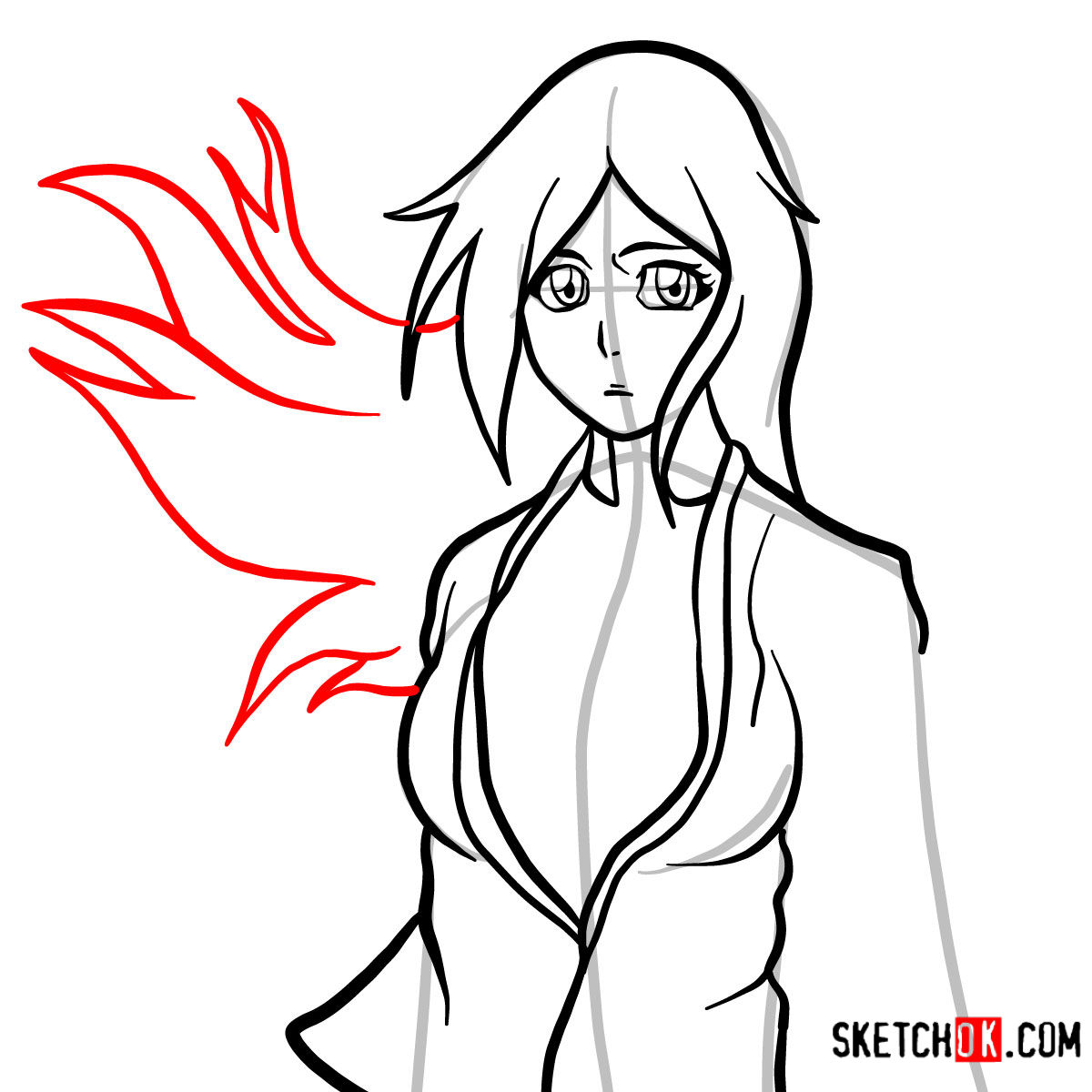How to draw Orihime Inoue face | Bleach - step 09