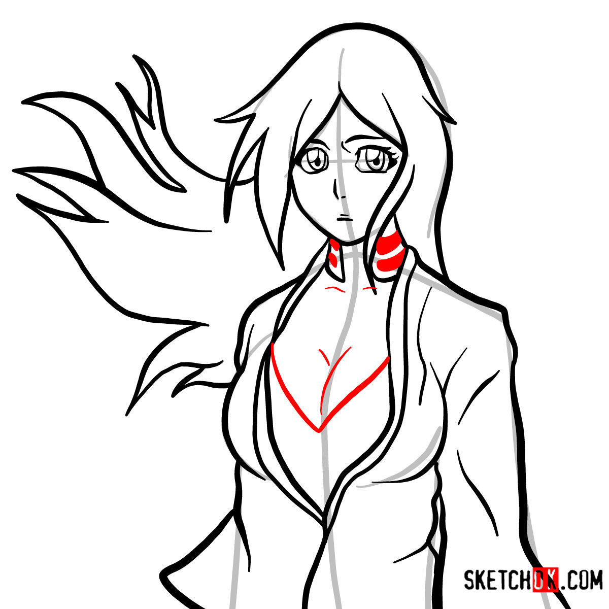 How to draw Orihime Inoue face | Bleach - step 11