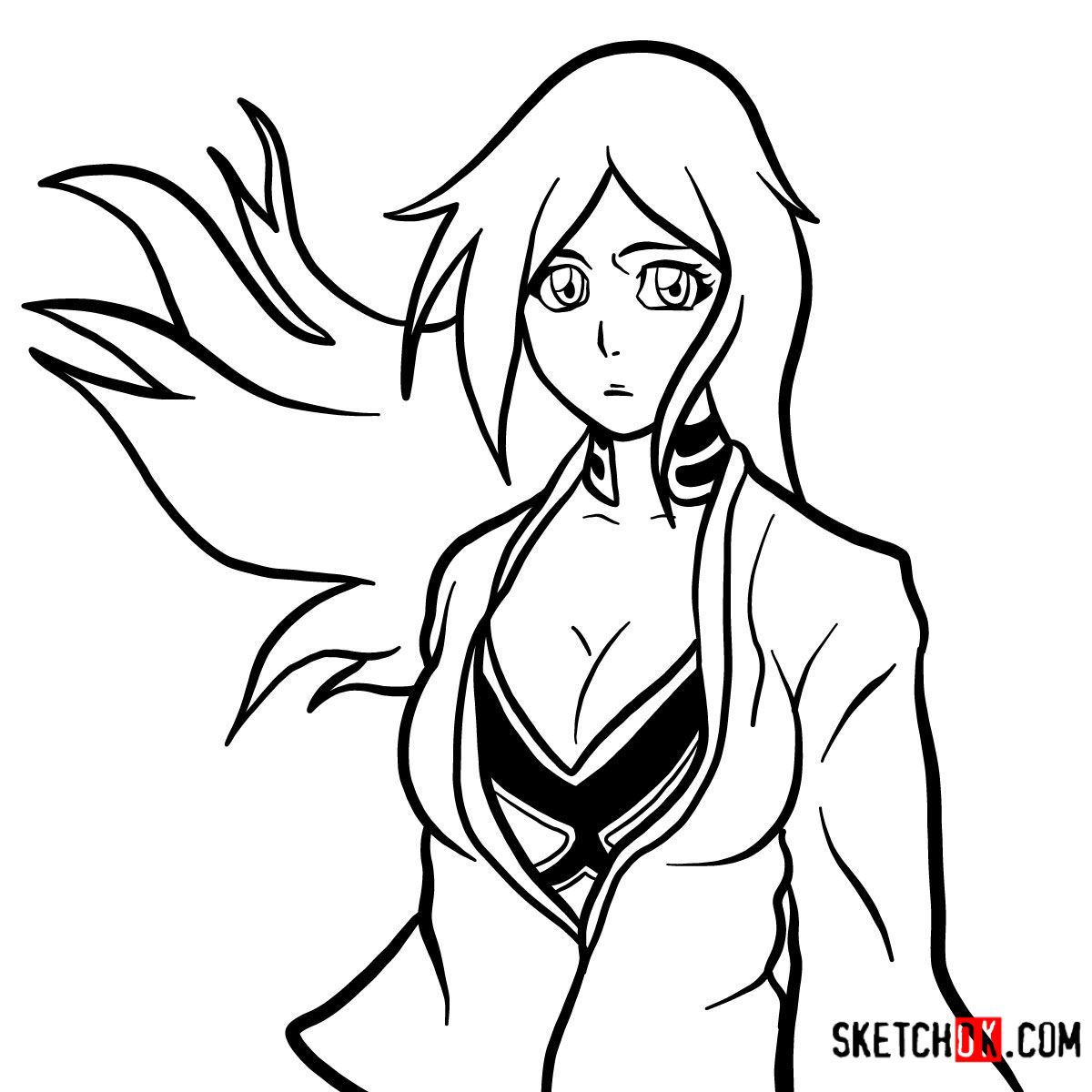 How to draw Orihime Inoue face | Bleach