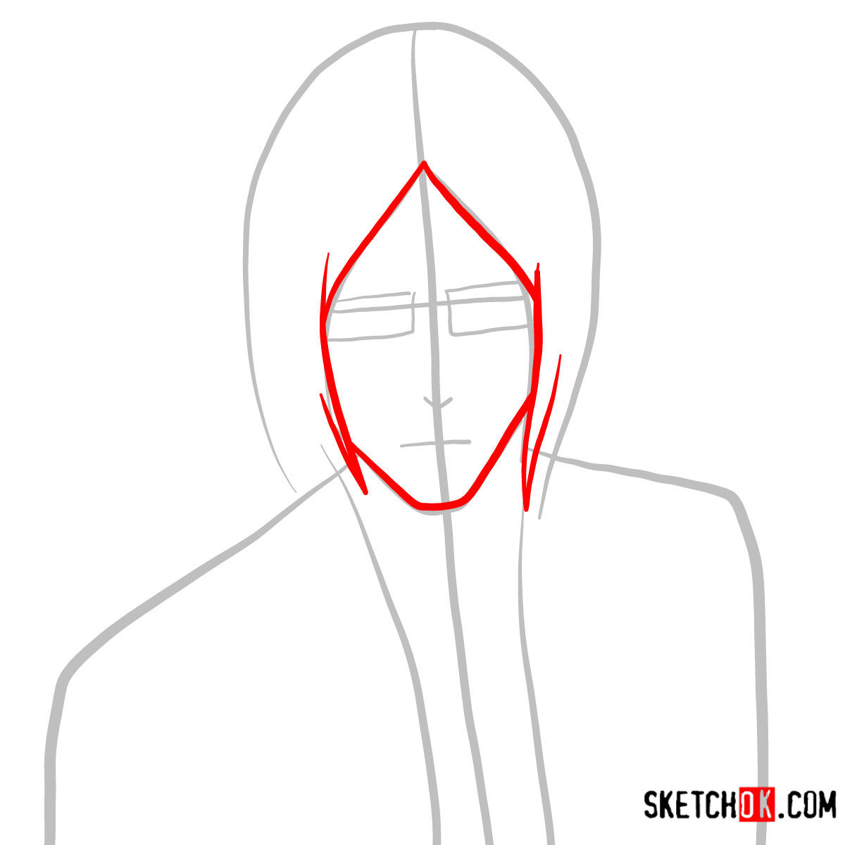 How to draw Uryū Ishida's face | Bleach - step 02