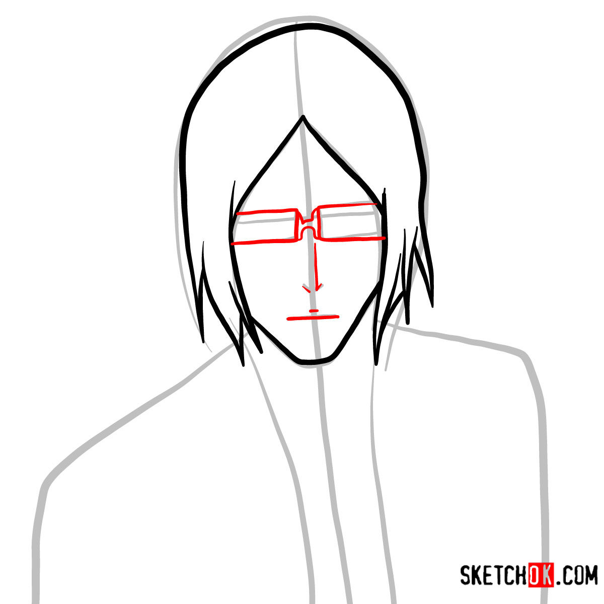 How to draw Uryū Ishida's face | Bleach - step 04
