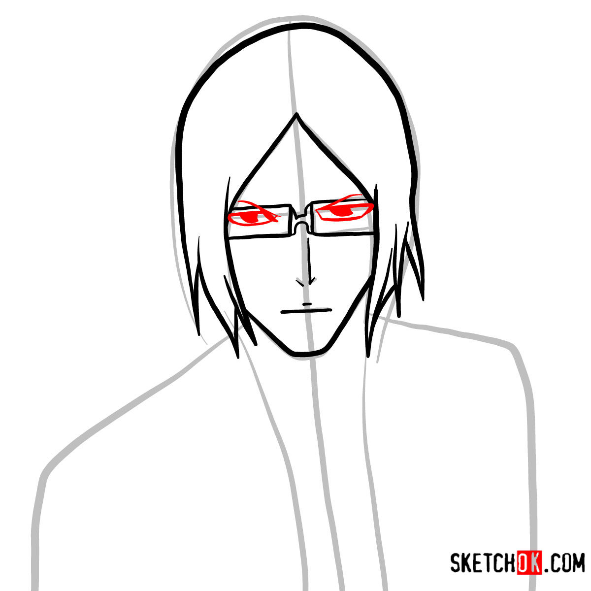 How to draw Uryū Ishida's face | Bleach - step 05