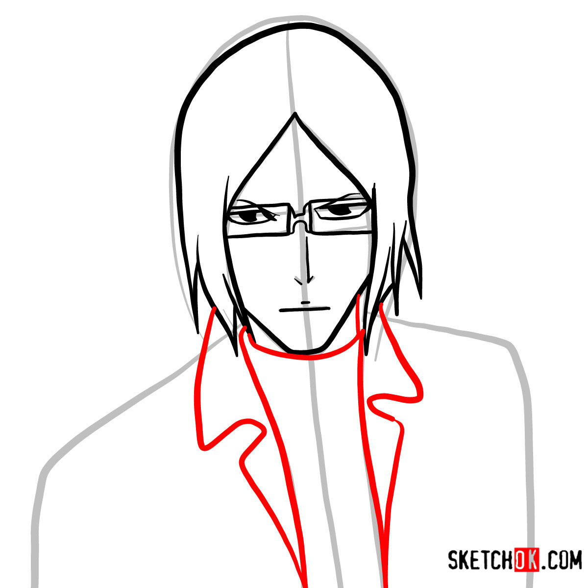 How to draw Uryū Ishida's face | Bleach - step 06