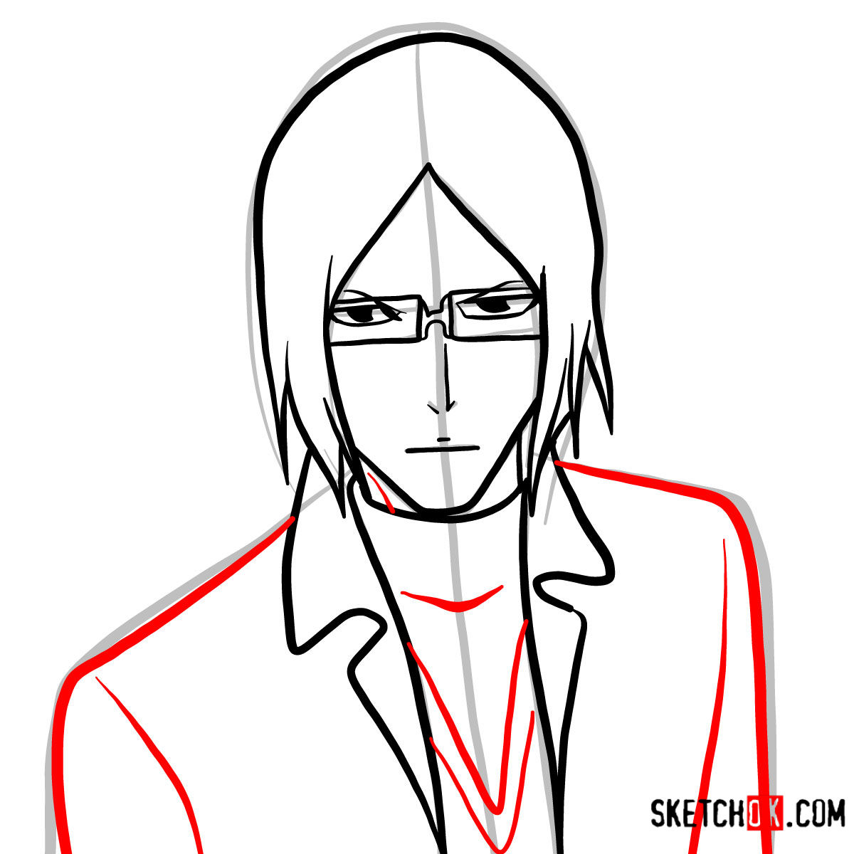 How to draw Uryū Ishida's face | Bleach - step 07
