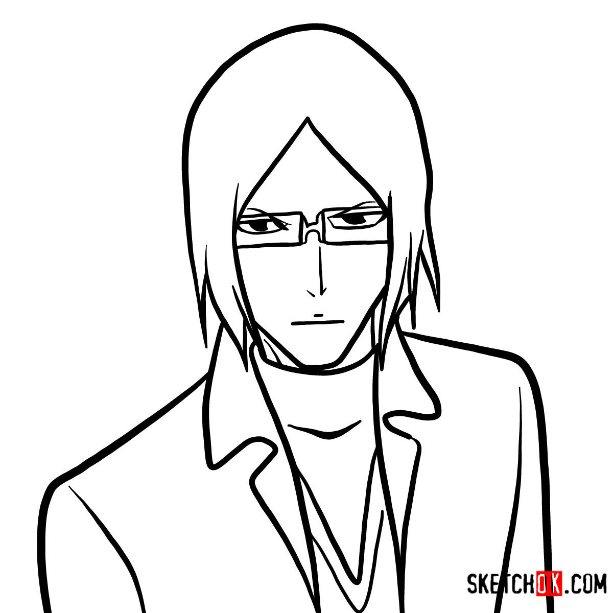 How to draw Uryū Ishida's face