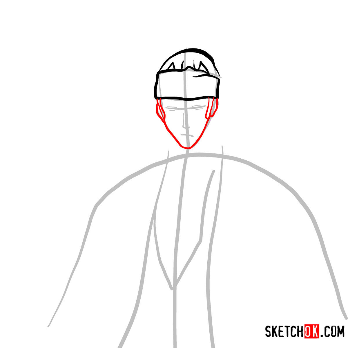 How to draw Renji Abarai's portrait | Bleach - step 04