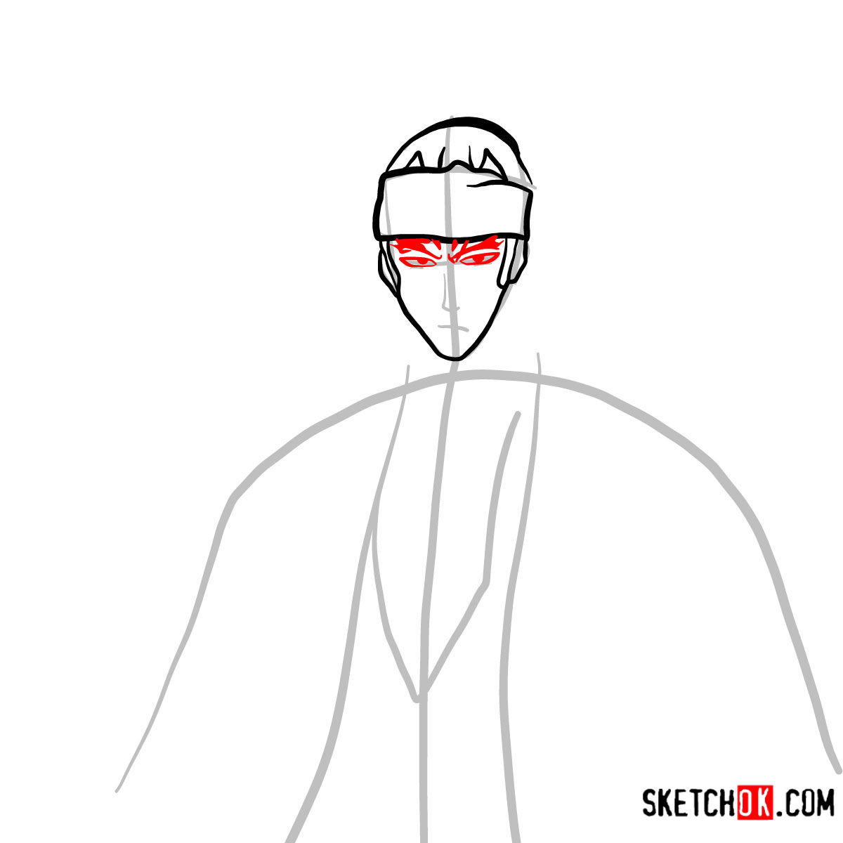 How to draw Renji Abarai's portrait | Bleach - step 05