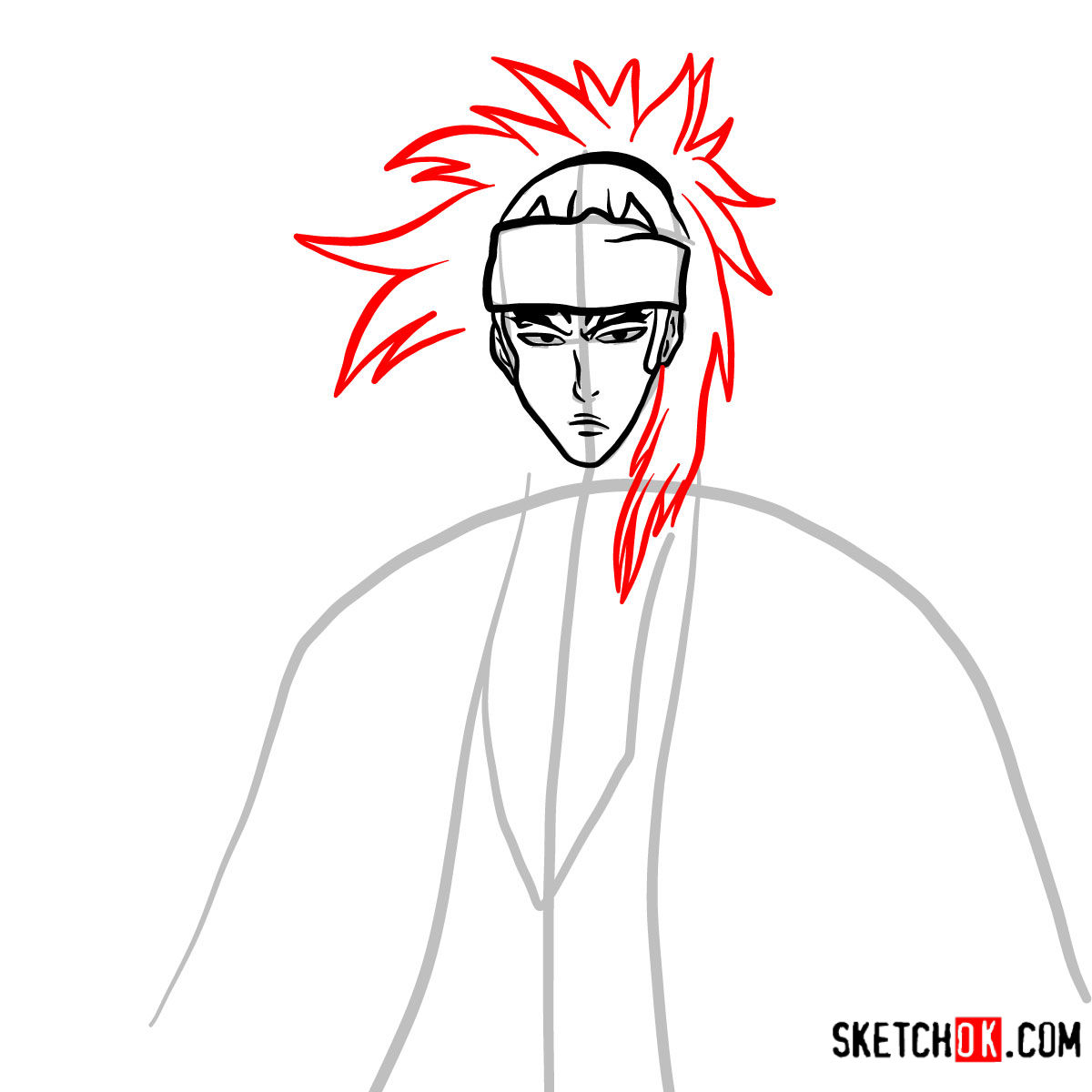 How to draw Renji Abarai's portrait | Bleach - step 07