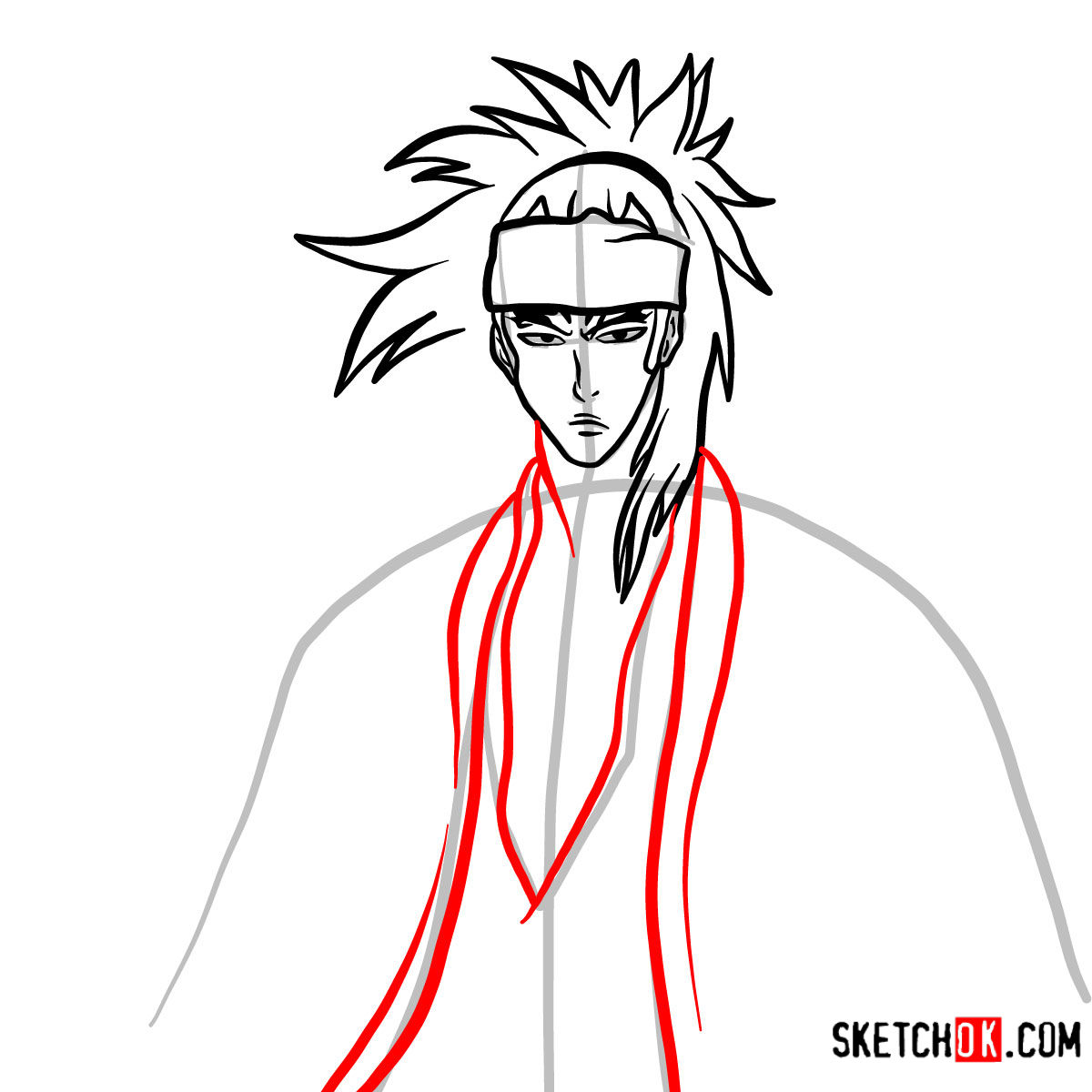 How to draw Renji Abarai's portrait | Bleach - step 08