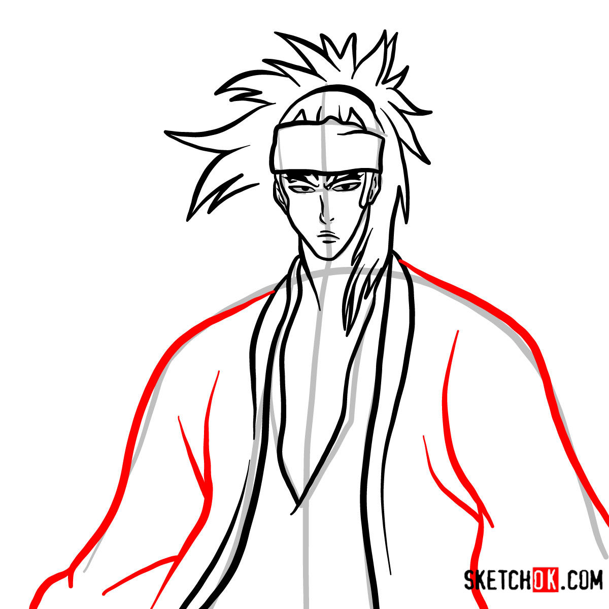 How to draw Renji Abarai's portrait | Bleach - step 09