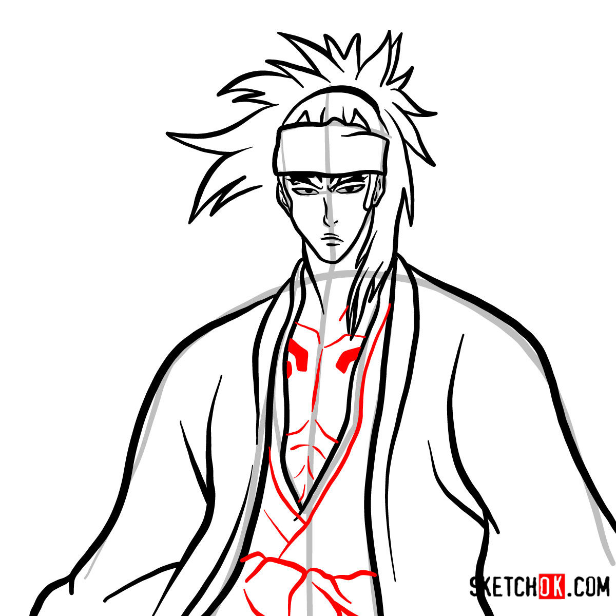 How to draw Renji Abarai's portrait | Bleach - step 10