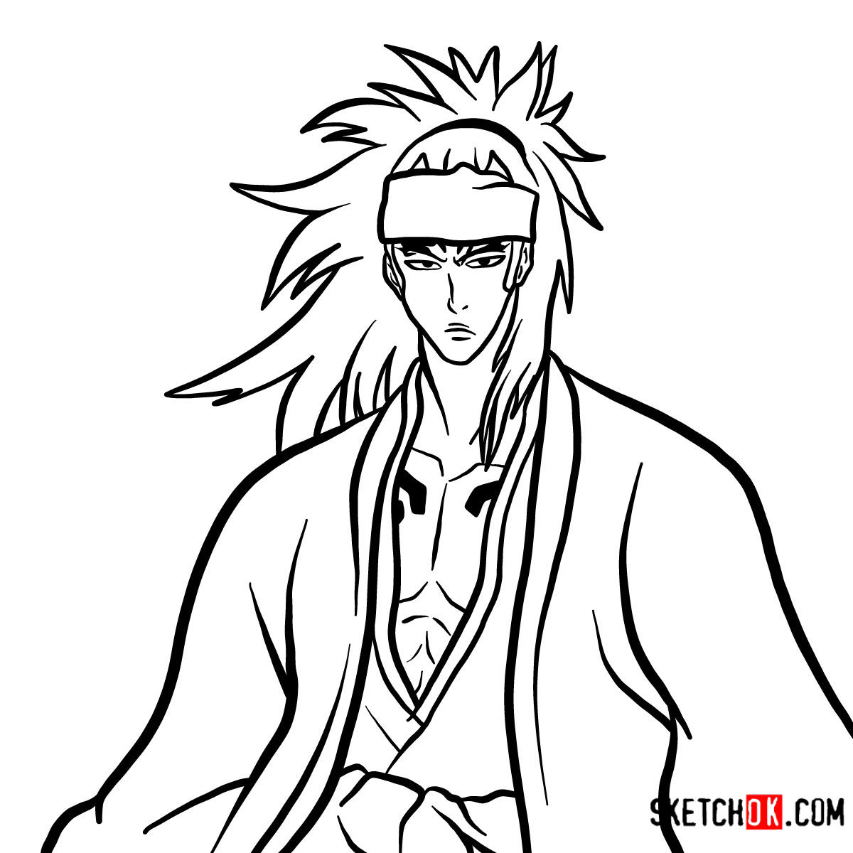 How to draw Renji Abarai's portrait
