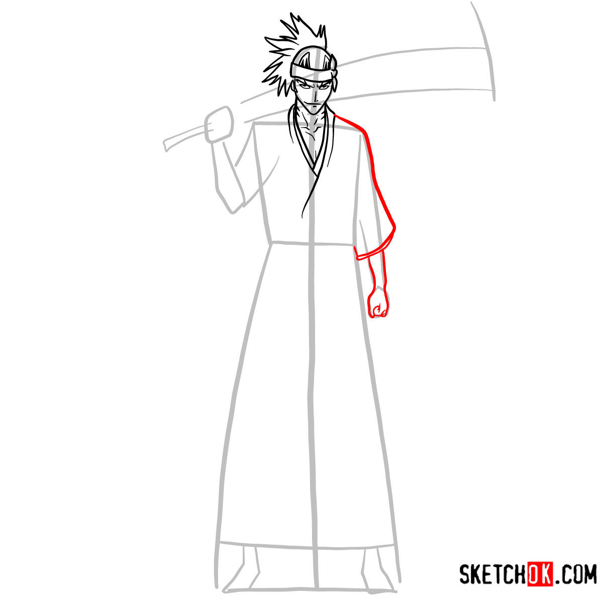How to draw Renji Abarai full growth | Bleach - step 07