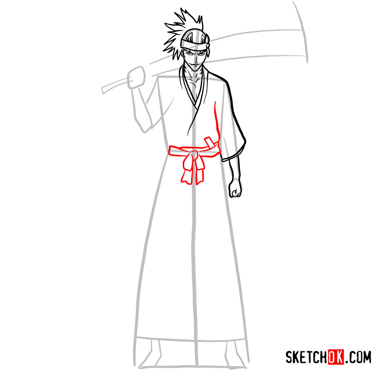 How to draw Renji Abarai full growth | Bleach - step 08