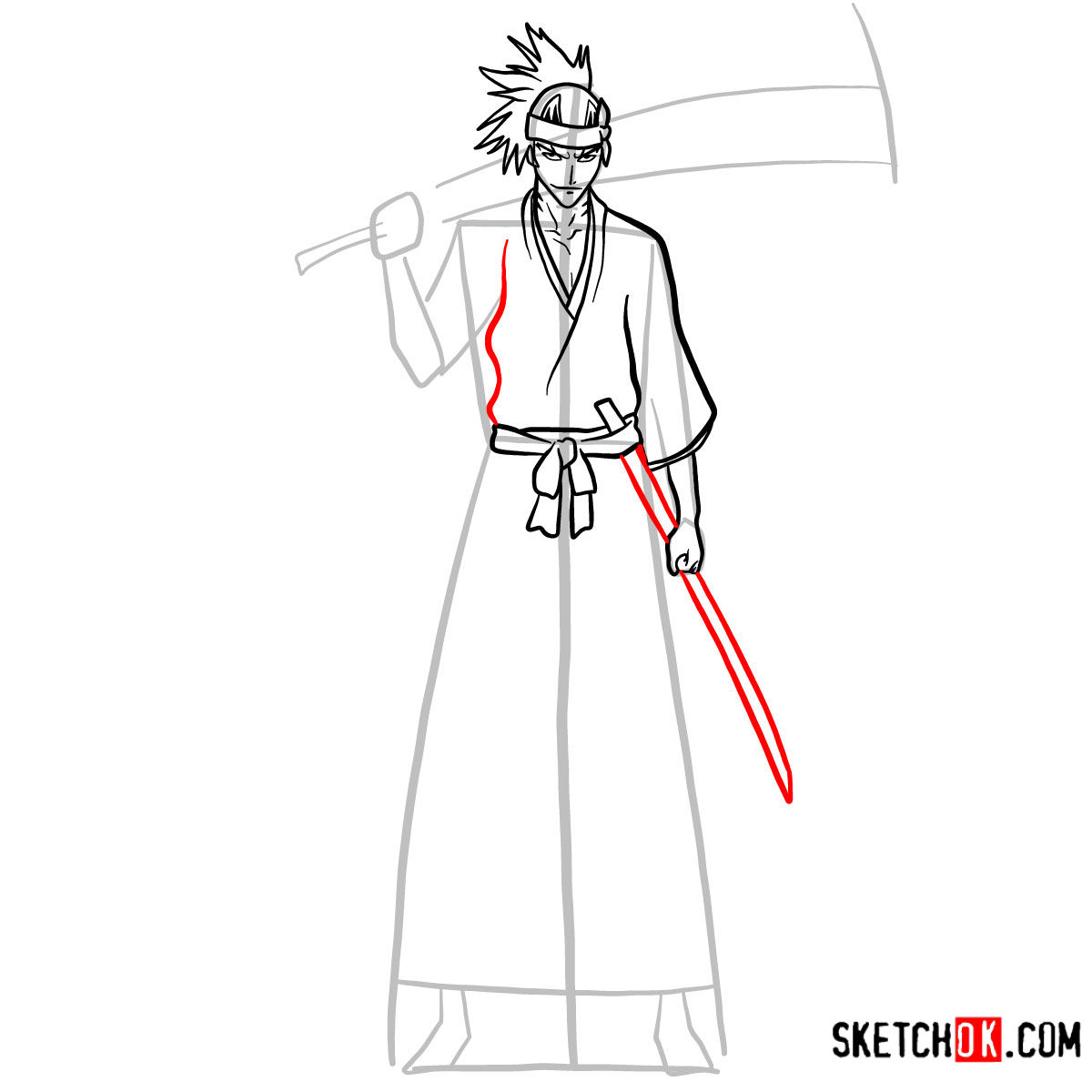 How to draw Renji Abarai full growth | Bleach - step 09