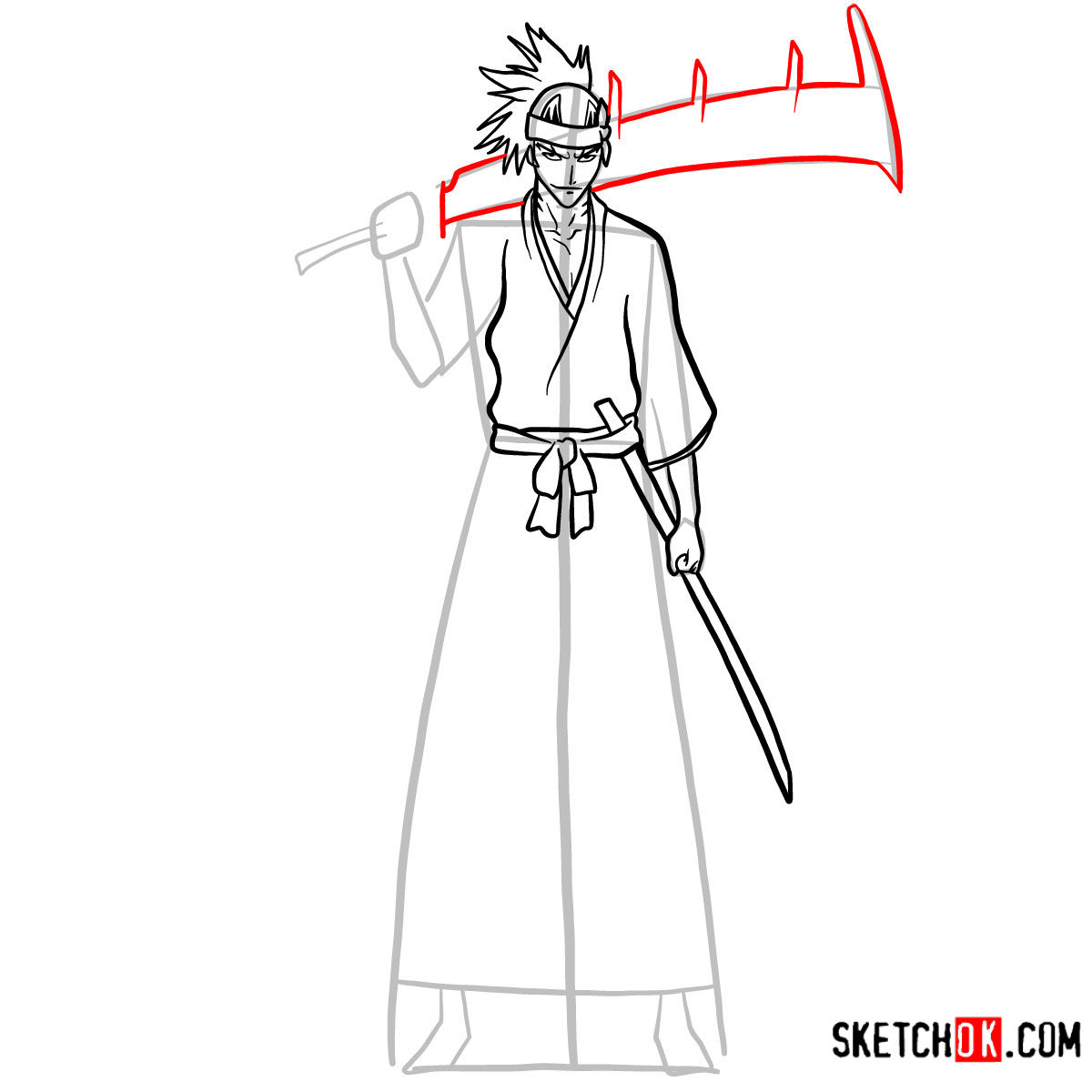 How to draw Renji Abarai full growth | Bleach - step 10