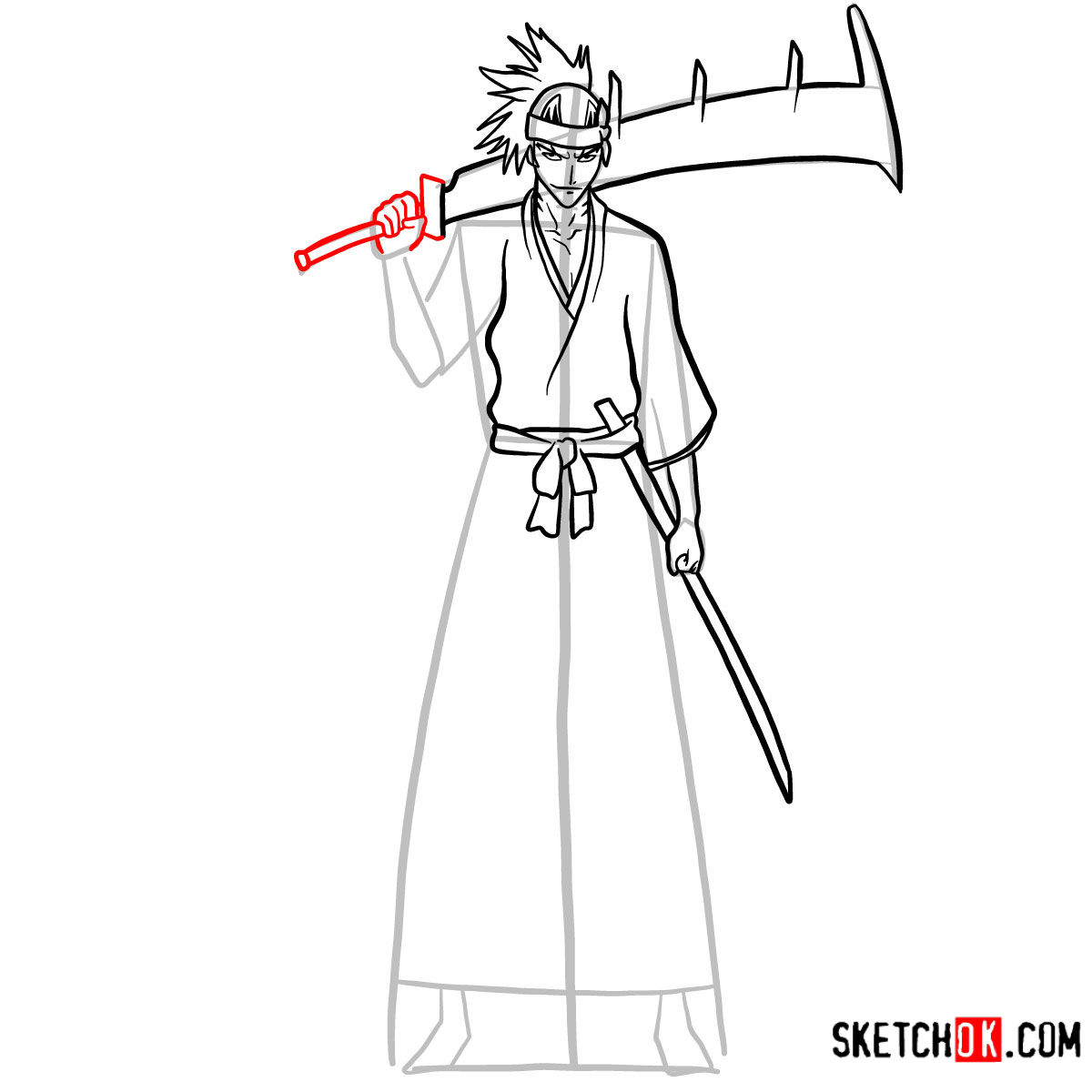 How to draw Renji Abarai full growth | Bleach - step 11