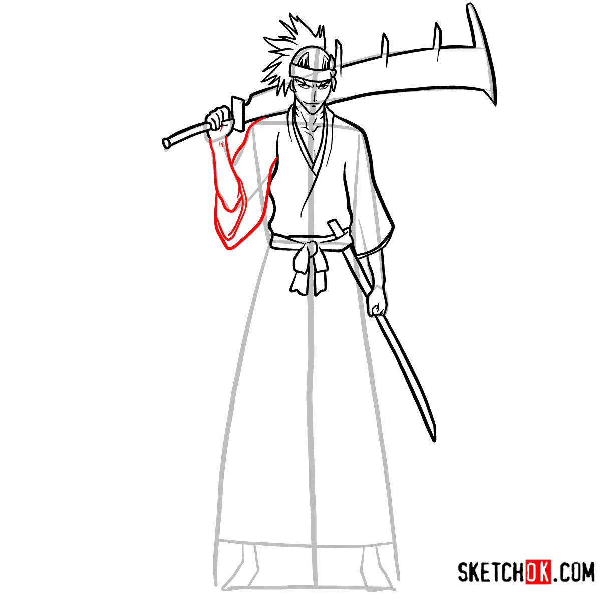 How to draw Renji Abarai full growth | Bleach - step 12