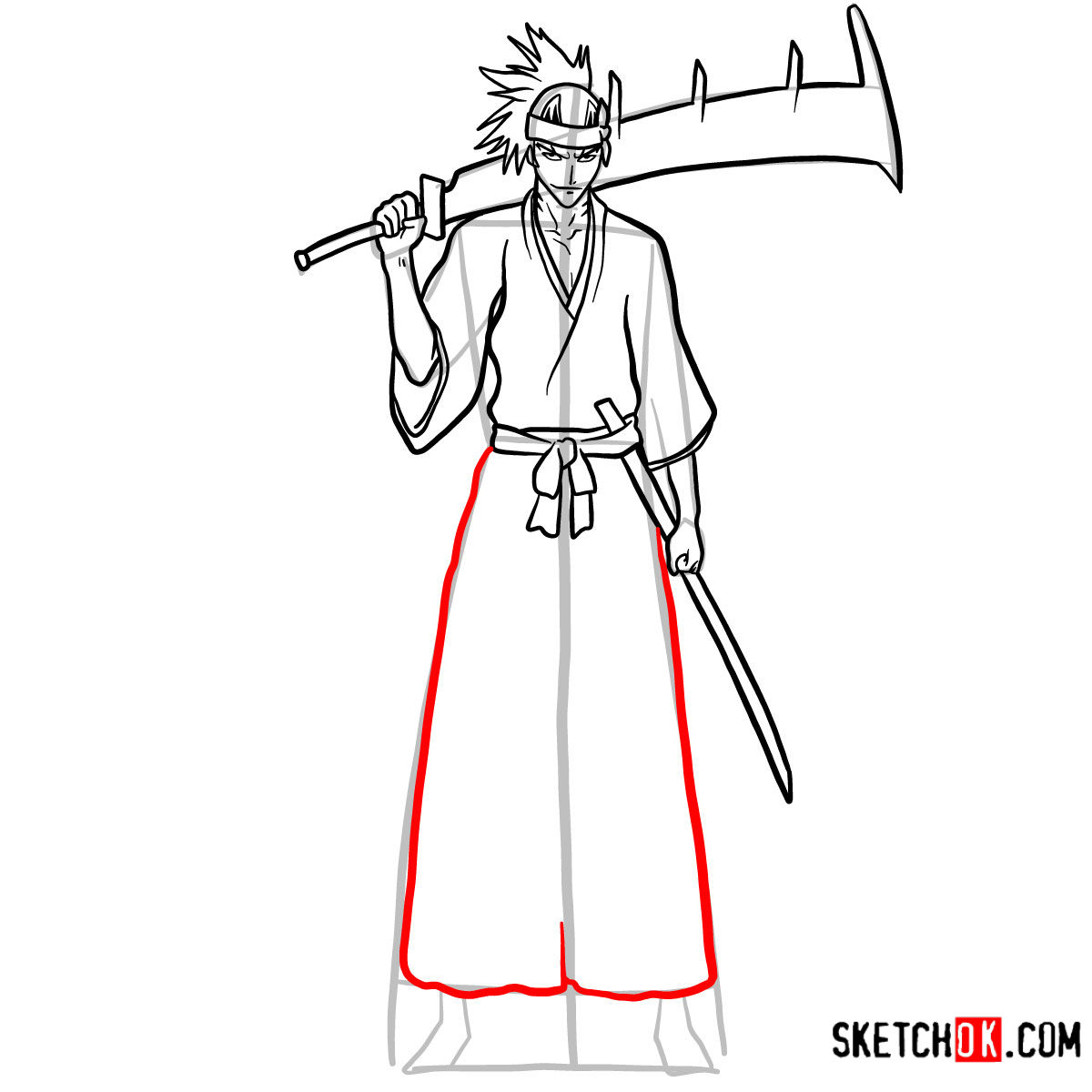 How to draw Renji Abarai full growth | Bleach - step 13