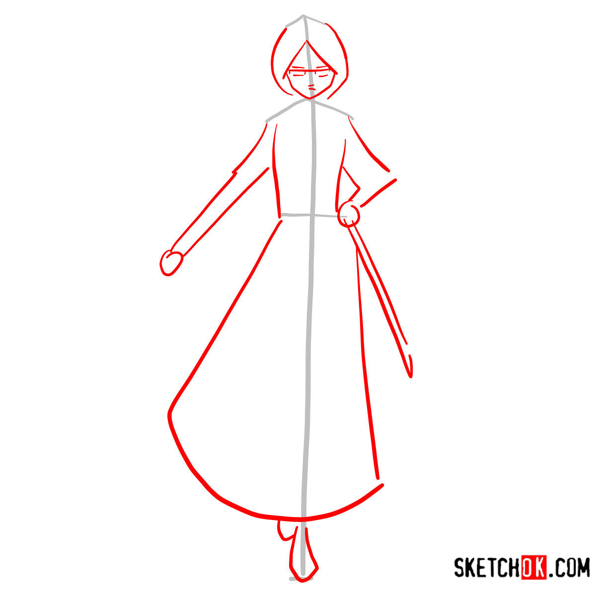 How to draw Rukia Kuchiki full growth | Bleach - step 02
