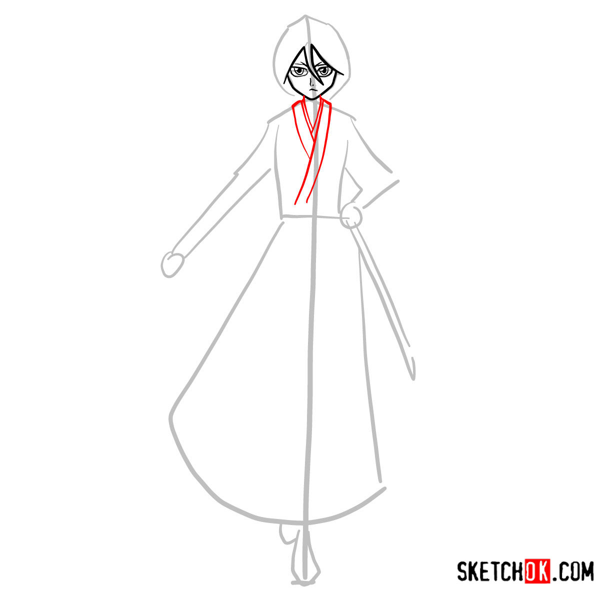 How to draw Rukia Kuchiki full growth | Bleach - step 05