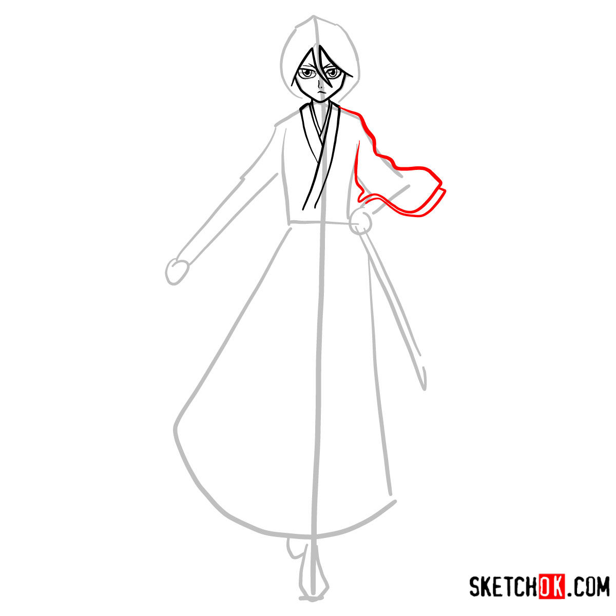 How to draw Rukia Kuchiki full growth | Bleach - step 06