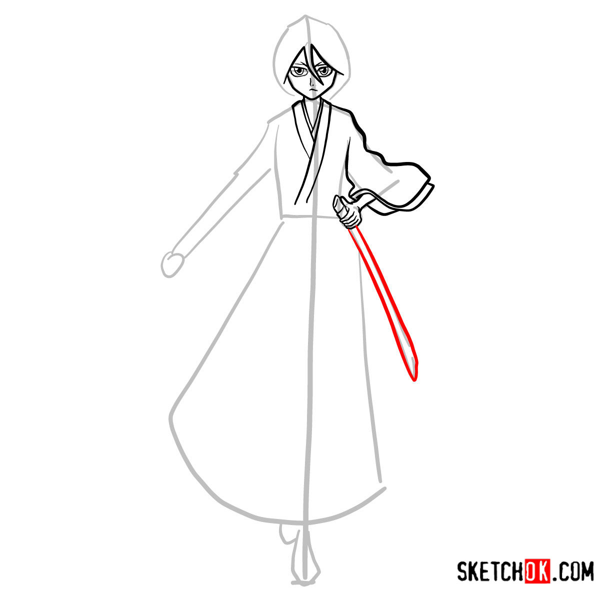 How to draw Rukia Kuchiki full growth | Bleach - step 08
