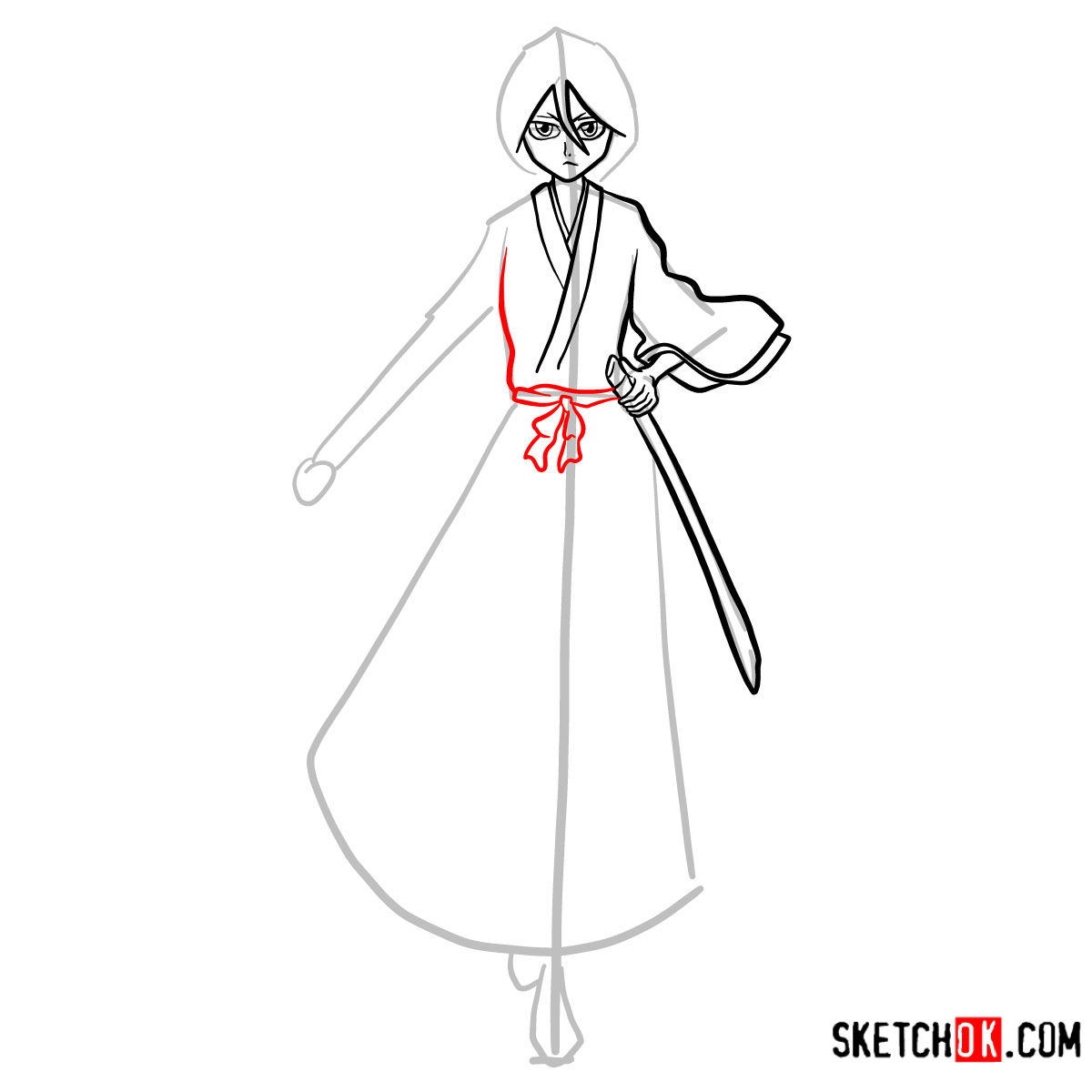 How to draw Rukia Kuchiki full growth | Bleach - step 10