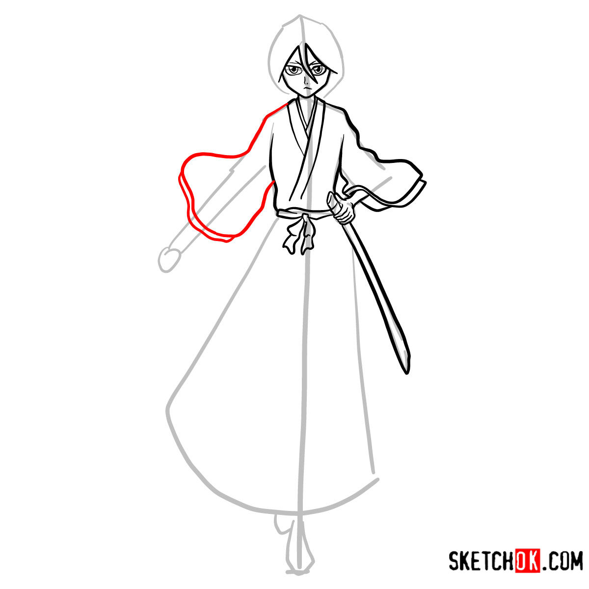 How to draw Rukia Kuchiki full growth | Bleach - step 11