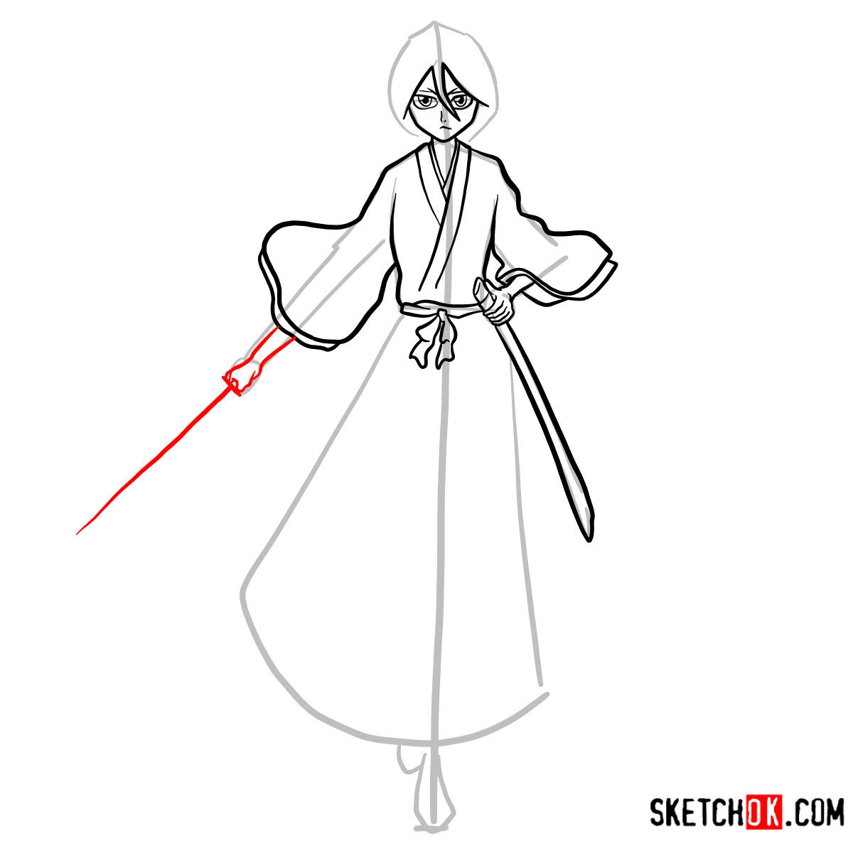 How to draw Rukia Kuchiki full growth | Bleach - step 12