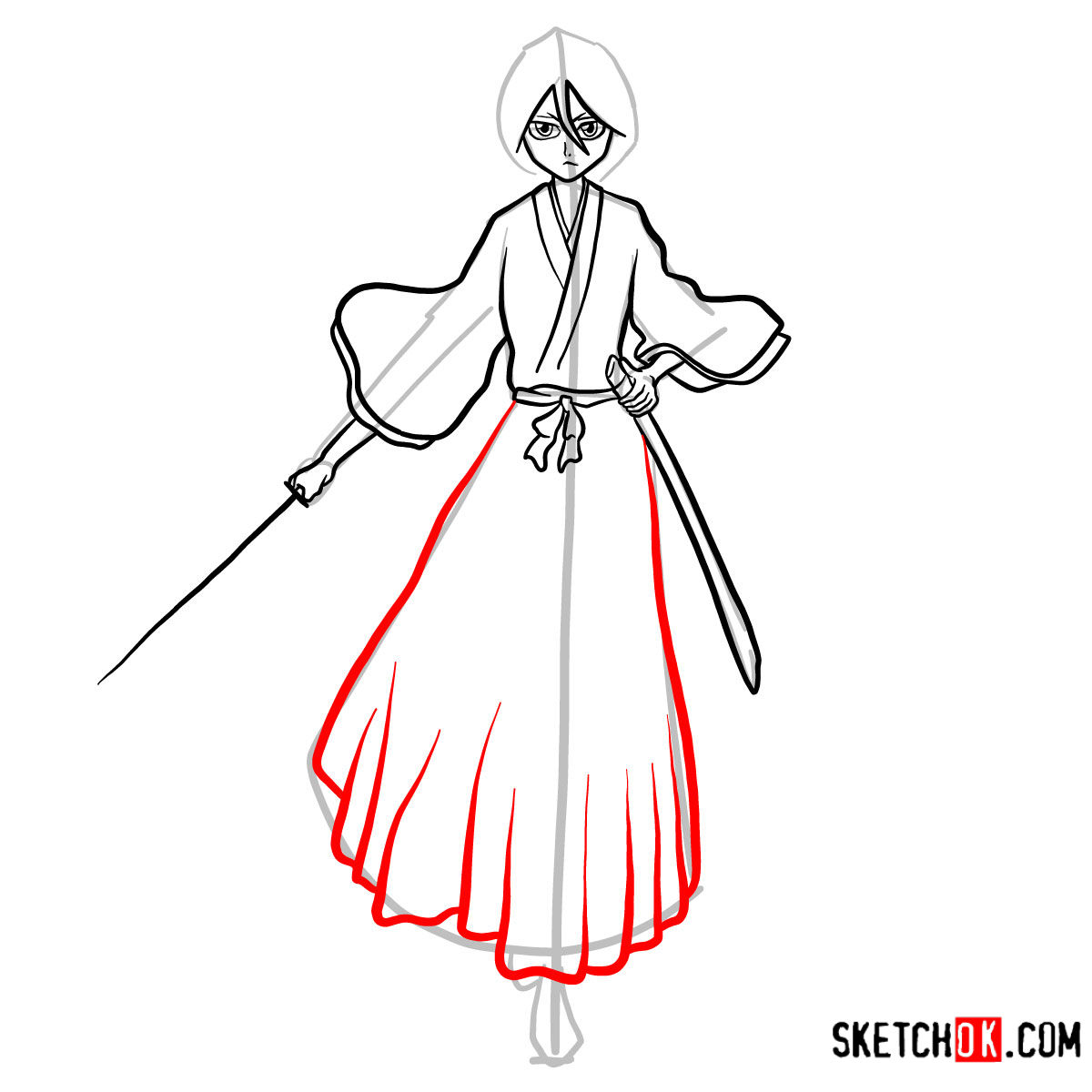 How to draw Rukia Kuchiki full growth | Bleach - step 13