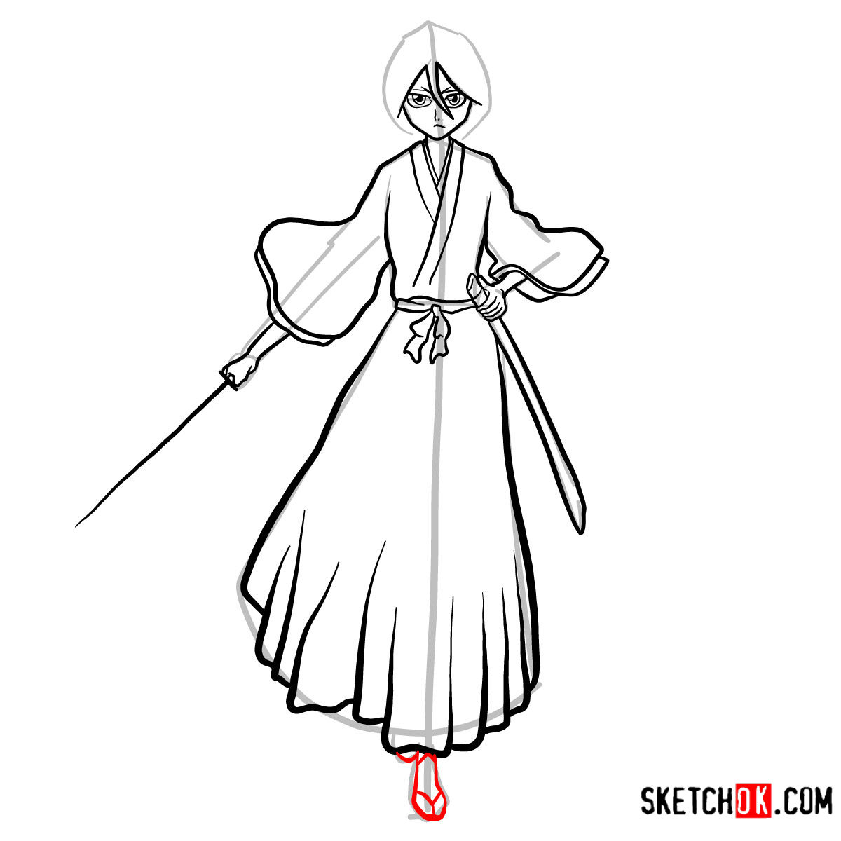 How to draw Rukia Kuchiki full growth | Bleach - step 14