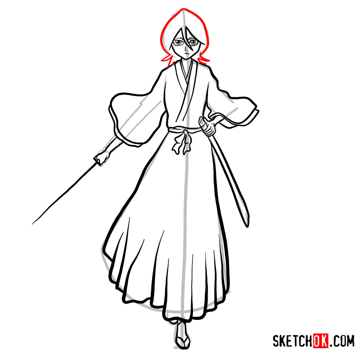 How to draw Rukia Kuchiki full growth | Bleach - step 15