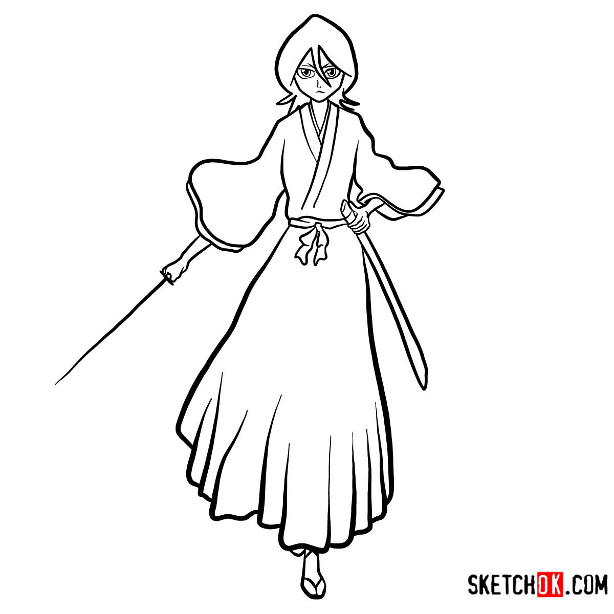 How to draw Rukia Kuchiki full growth | Bleach