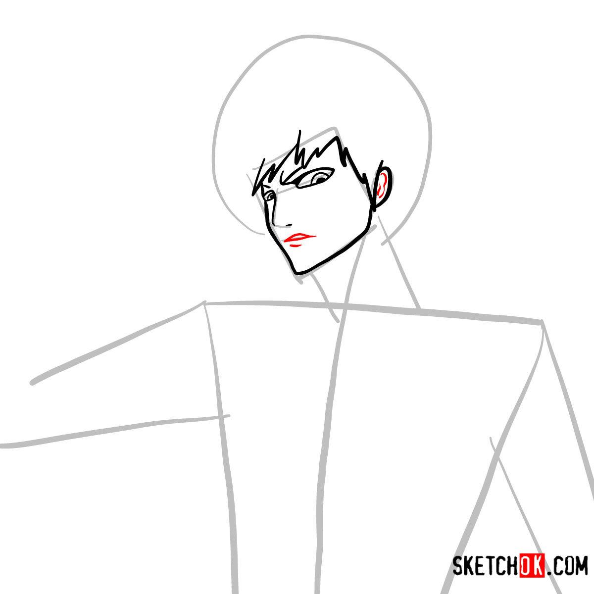 How to draw Ichigo Kurosaki unmasked   Bleach - step 06