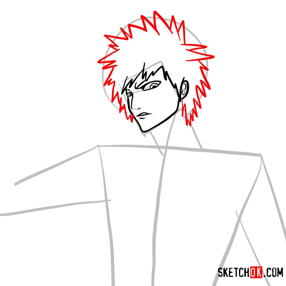 How to draw Ichigo Kurosaki unmasked   Bleach - step 07