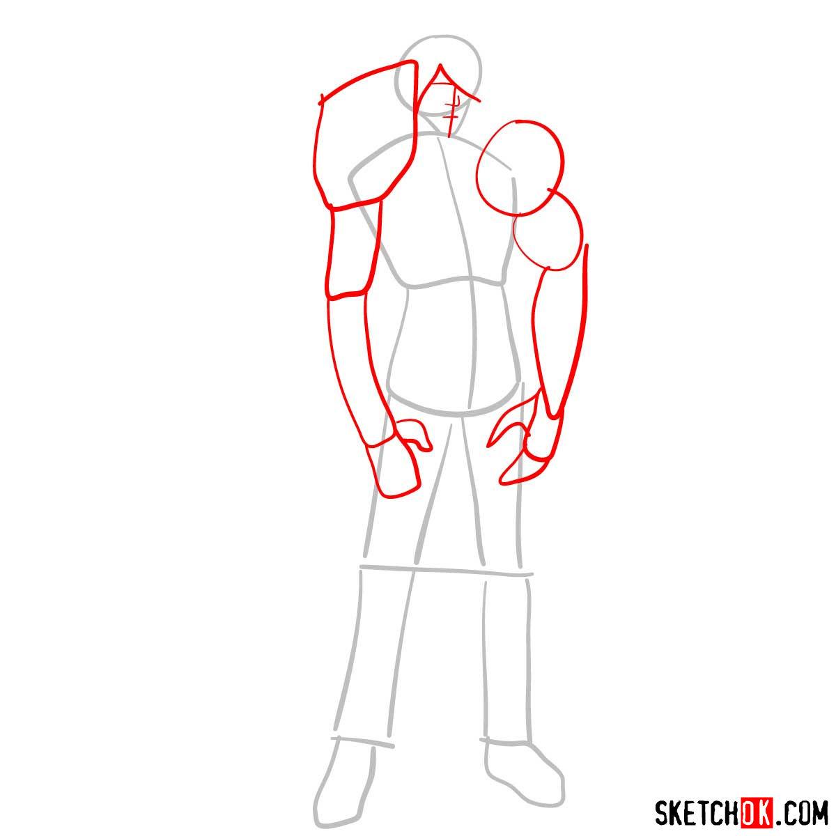 16 steps tutorial how to draw Yasutora (Chad) Sado full growth - step 02