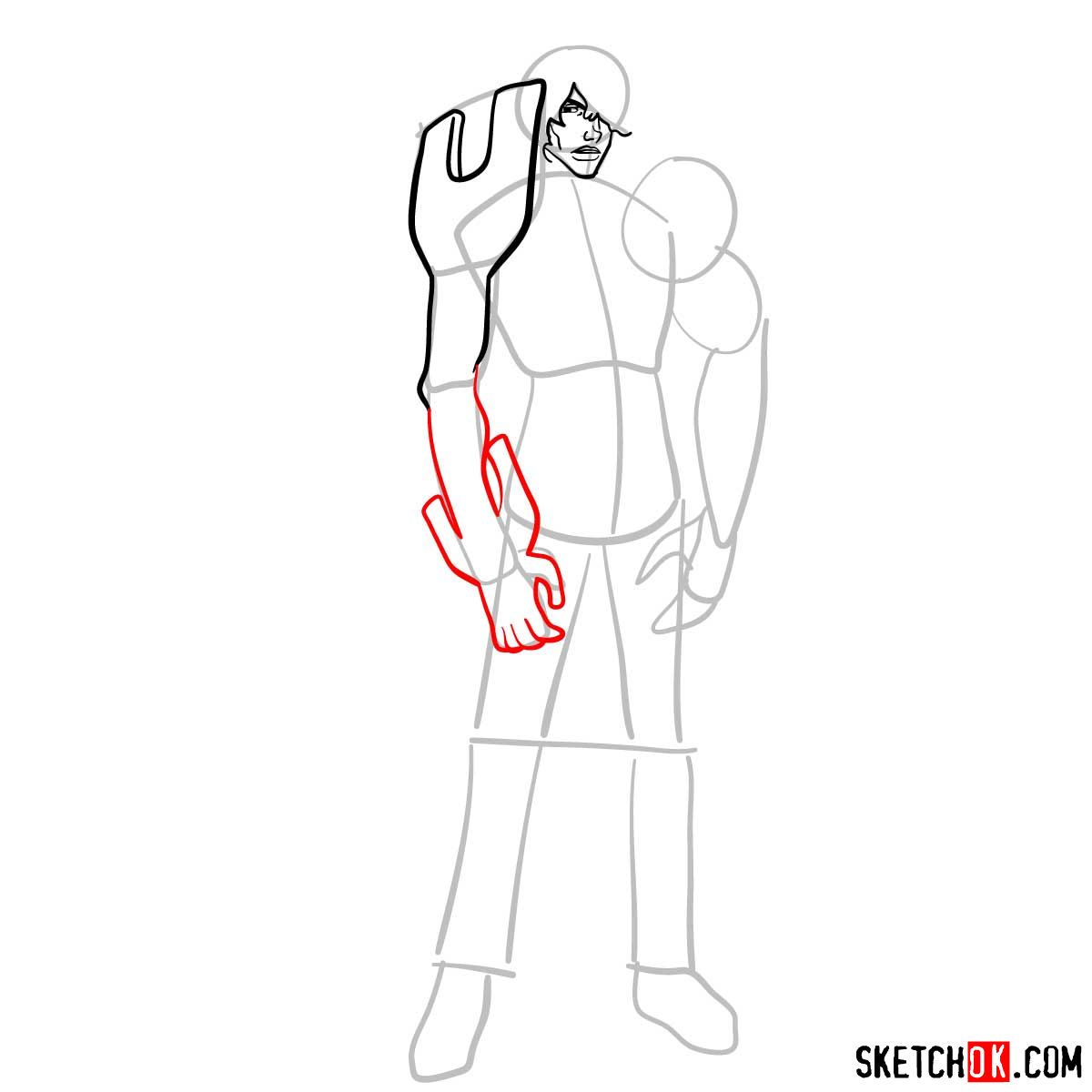 16 steps tutorial how to draw Yasutora (Chad) Sado full growth - step 06