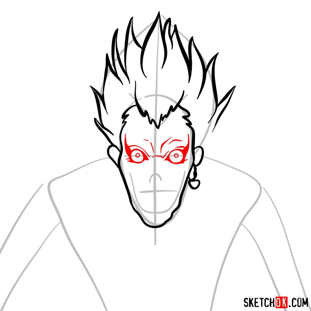 How to draw Ryuk | Death Note - step 05