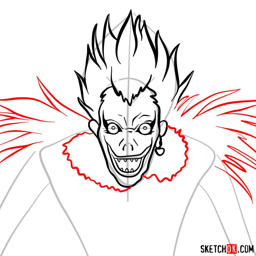 How to draw Ryuk | Death Note - step 07