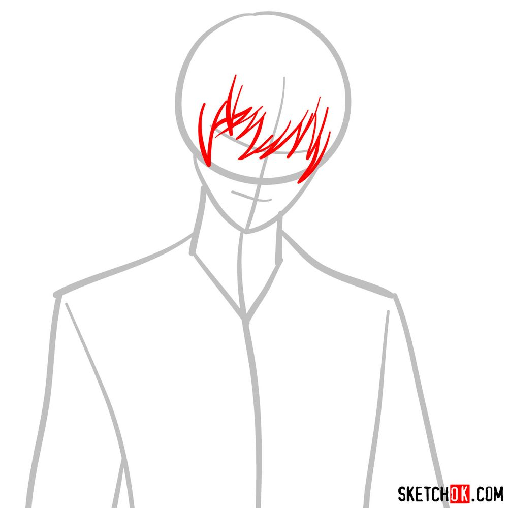 How to draw Light Yagami | Death Note - step 03