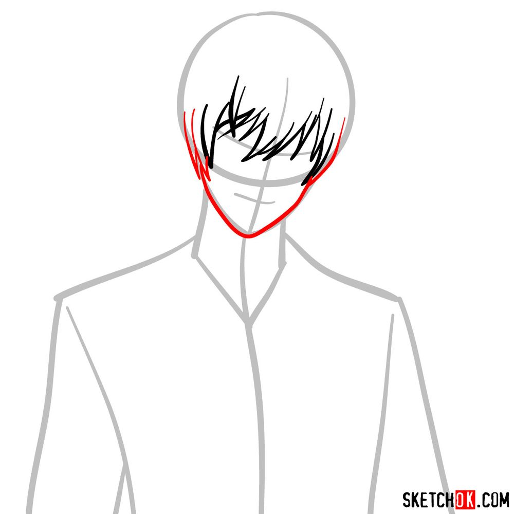How to draw Light Yagami | Death Note - step 04