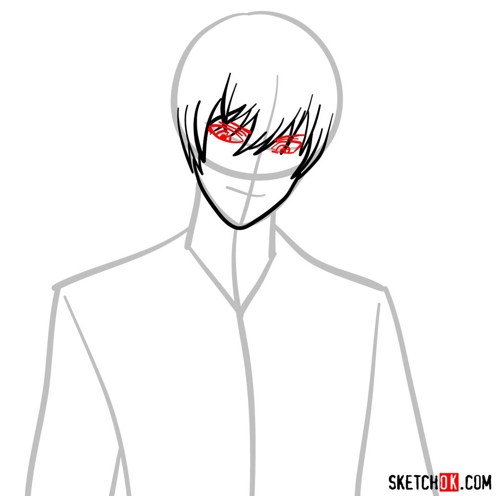 How to draw Light Yagami | Death Note - step 05