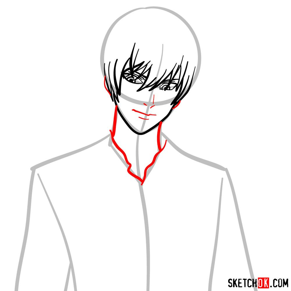 How to draw Light Yagami | Death Note - step 06