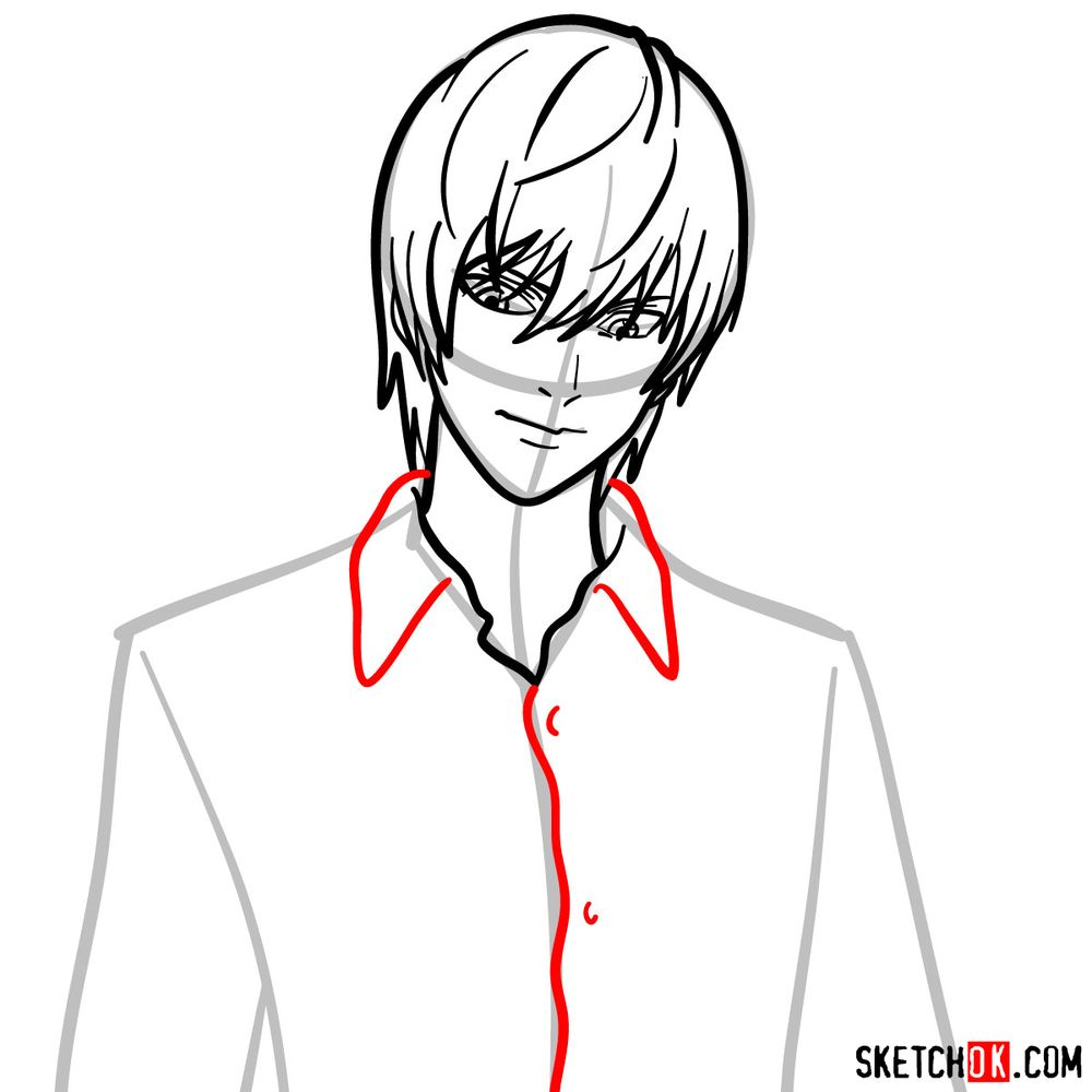 How to draw Light Yagami | Death Note - step 08