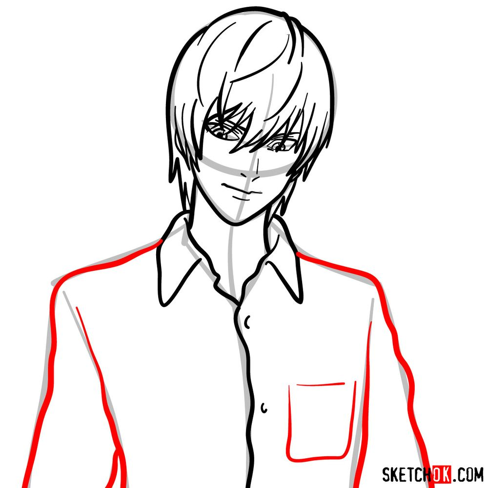 How to draw Light Yagami | Death Note - step 09