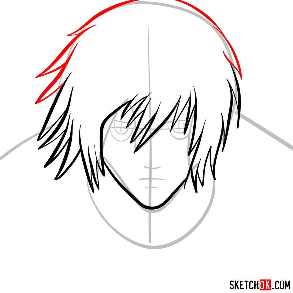 How to draw L Lawliet's face - step 05