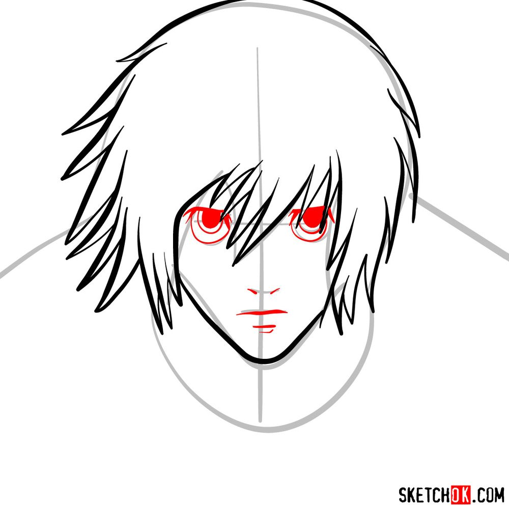 How to draw L Lawliet's face - step 06